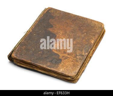 Old Brown Book Closed and Worn Isolated on White Background. - Stock Photo