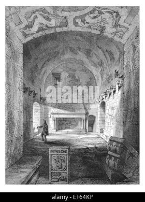 1852 Interior Keep Tower Craigmillar Castle  ruined medieval castle Edinburgh - Stock Photo