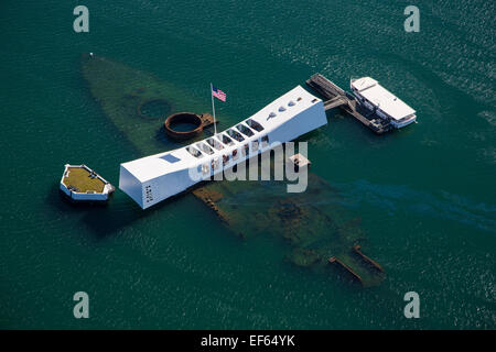 USS Arizona Memorial, Pearl Harbor, Oahu, Hawaii - Stock Photo