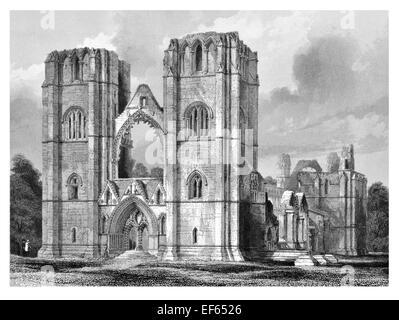 1852 West front Elgin Eilginn  Ailgin  cathedral city Royal Burgh Moray ruin Holy Trinity - Stock Photo
