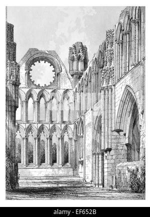 1852  Elgin Eilginn  Ailgin  cathedral city Royal Burgh Moray ruin Holy Trinity Choir - Stock Photo