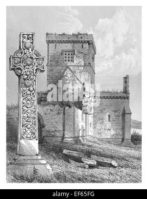 1852 St Martin's Cross Iona Abbey  ecumenical church Chaluim Chille Inner Hebrides Ross Mull  Gaelic monasticism - Stock Photo