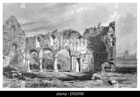 1852 Nunnery  Iona Abbey  ecumenical church Chaluim Chille Inner Hebrides Ross Mull  Gaelic monasticism Saint Columba - Stock Photo