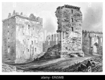 1852 David's Tower Spynie Palace Castle  fortified seat  Bishops Moray near Elgin - Stock Photo