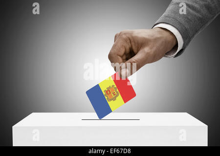Ballot box painted into national flag colors - Andorra - Stock Photo