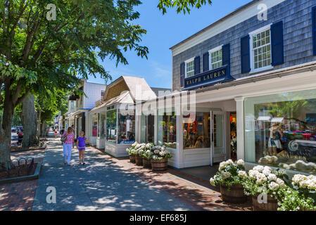 Main Street in the village of East Hampton, Suffolk County, Long Island , NY, USA - Stock Photo