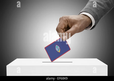 Ballot box painted into national flag colors - Guam - Stock Photo