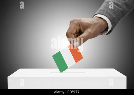 Ballot box painted into national flag colors - Ireland - Stock Photo