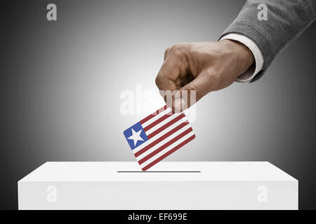 Ballot box painted into national flag colors - Liberia - Stock Photo