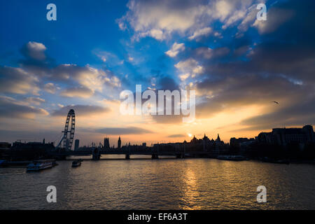 River Thames Sunset View from Waterloo Bridge, London, England, UK - Stock Photo