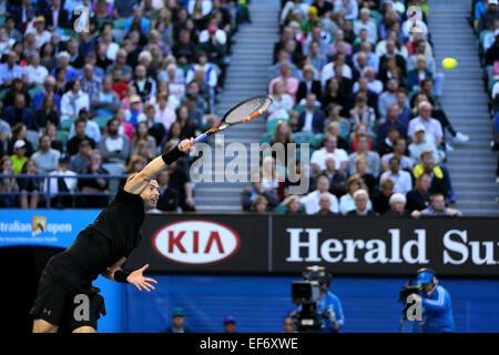 Melbourne, Australia. 27th Jan, 2015. Andy Murray (GBR) Tennis : 2015 Australian Open tennis tournament Men's quarter - Stock Photo