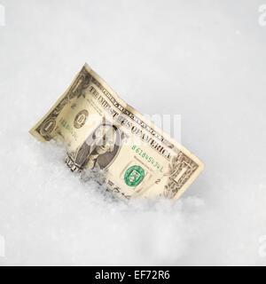 Dollar Bill On A Snow - Stock Photo
