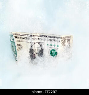 One Dollar on the Snow - Stock Photo