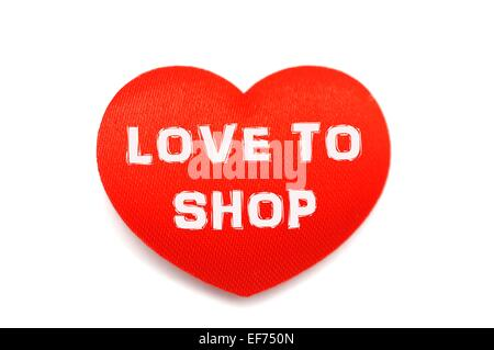 Love to shop red heart shopping concept - Stock Photo