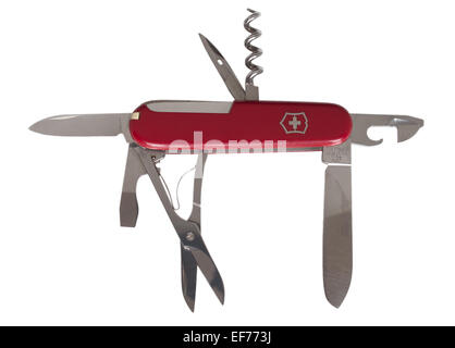 A Victorinox original Swiss army knife showing multifunction tools available, isolated on a white background - Stock Photo