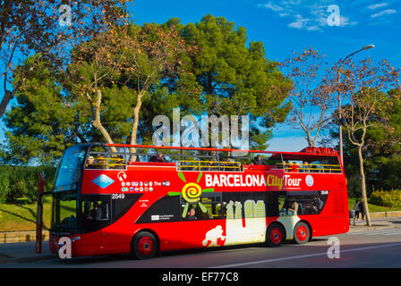 Barcelona City Tour tourist sightseeing bus, Montjuic, Barcelona, Spain - Stock Photo