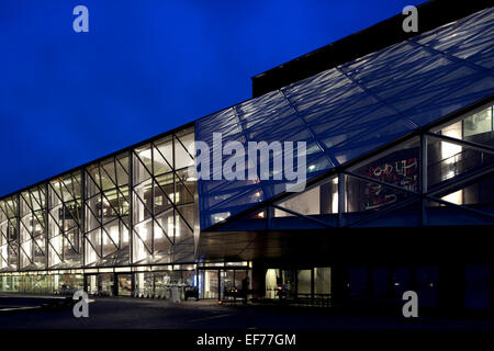 Culture Yard (Kulturvaerftet), Helsingor, Denmark. Architect: AART Architects, 2010. Main elevation at dusk. - Stock Photo