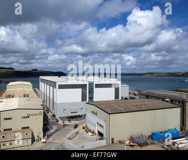 Pendennis Shipyard, Falmouth TR11 4NR, United Kingdom. Architect: na, 2014. Overall view of new boat facility. - Stock Photo