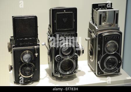 6X6 cm. Medium format (film)1929. Rolleiflex 1. 6x6 cm. Medium Format (film), 1960-81. Rolleiflex 2,8 F. 6x6 cm. - Stock Photo