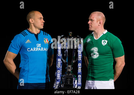 London, UK. 28th Jan, 2015. 6 Nations Launch. Team captains pose with the new trophy during the RBS 6 Nations media - Stock Photo