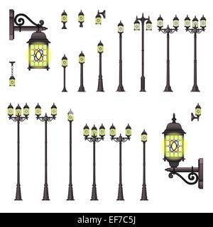 Vector set of isolated Street lanterns in Vintage style with different types of stands and openwork convoluted details - Stock Photo