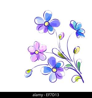 Vector white greeting background with pictorial blue and violet flowers - Stock Photo