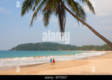 TOURISTS WALKING ALONG SANDY BEACH WITH PALM TREE - Stock Photo