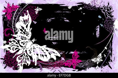 Vector pictorial grunge background with white and pink butterflies and flowers - Stock Photo