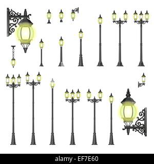 Set of isolated Street lanterns in style with different types of stands and openwork convoluted details - Stock Photo