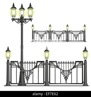 Vector black shod street fence with lanterns with openwork convoluted details - Stock Photo