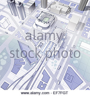 Blueprint of urban planning - Stock Photo