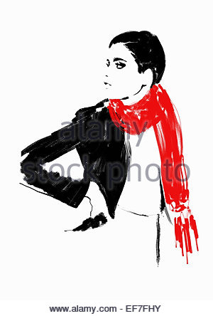 Beautiful woman wearing red scarf - Stock Photo