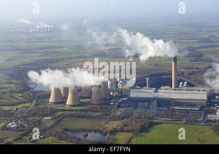Drax Power Station, with Eggborough in the distance, North Yorkshire, UK - Stock Photo