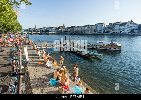 Rhine River in Summer, Middle Bridge, Ferry, Basel, Switzerland - Stock Photo