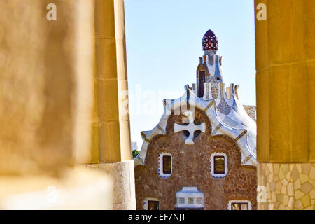 Park Guell by Antoni Gaudi, architect. Barcelona, Catalonia, Spain. - Stock Photo