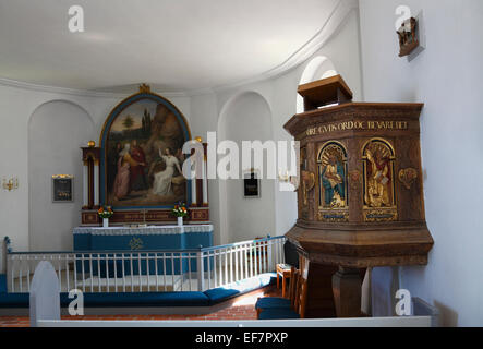Pulpit , chancel with altar and altarpiece in Gilleleje Church, North Zealand, Denmark. Part of Jewish history in - Stock Photo