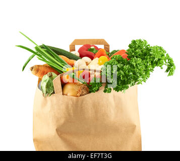Multiple different vegetables in paper bag - Stock Photo