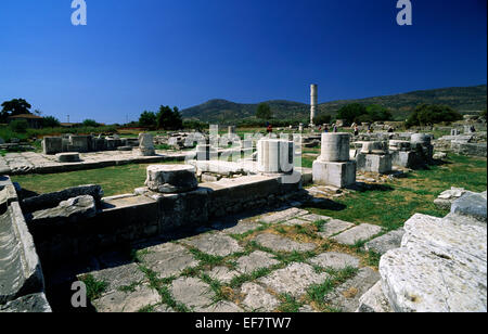 greece, northeastern aegean islands, samos, heraion, hera's temple - Stock Photo