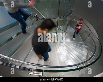 Glass staircase at the Apple store located on Nanjing Road in Shanghai, China - Stock Photo