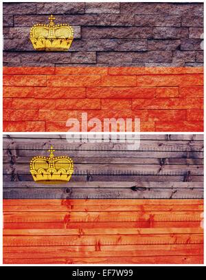 Vintage wall flag of Liechtenstein - Stock Photo