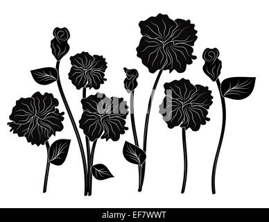Romantic black and white illustration eight elegant flowers for decorative purposes and love themes - Stock Photo