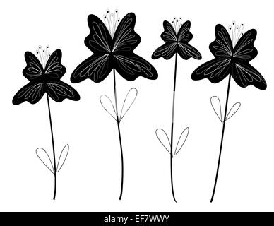 Black and white illustration four delicate flowers for decorative purposes and romantic themes - Stock Photo