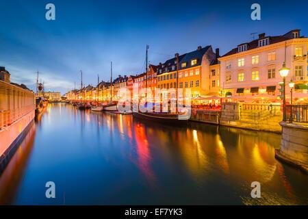 Copenhagen, Denmark at Nyhavn Canal. - Stock Photo