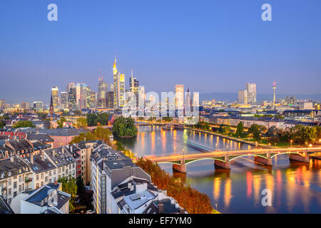 Frankfurt, Germany city skyline over the Main River. - Stock Photo