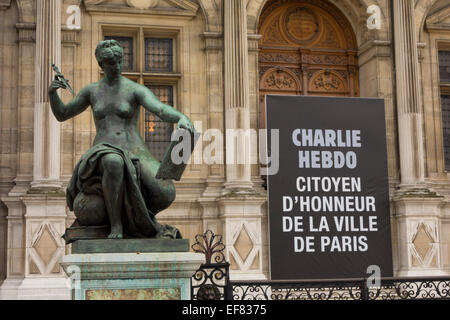 Paris, Parvis de l'hotel de ville place, Solidarity banners to Charlie Hebdo newspaper after 7th January 2015  terrorist - Stock Photo
