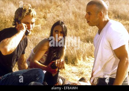 PAUL WALKER JORDANA BREWSTER & VIN DIESEL THE FAST AND THE FURIOUS (2001) - Stock Photo