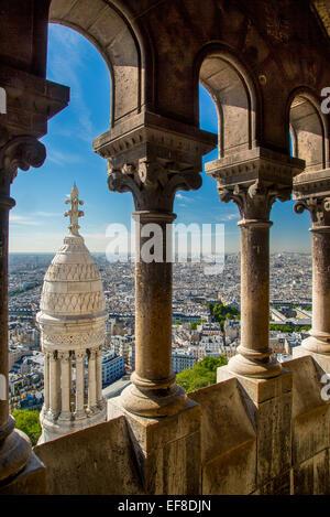 View from the top of Basilique du Sacre Coeur in Montmartre, Paris France - Stock Photo