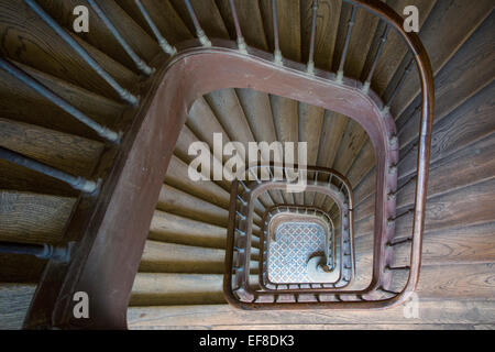 Ancient staircase in building near Rue de Faubourg Saint-Antoine, Paris France - Stock Photo