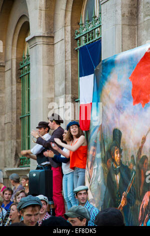 Parisians celebrate Fête de la Musique - annual music festival each June 21st, Paris, France - Stock Photo