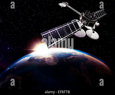 Communication satellite, Comsat above Earth globe lit by the rising Sun on black starry sky background. Space internet - Stock Photo